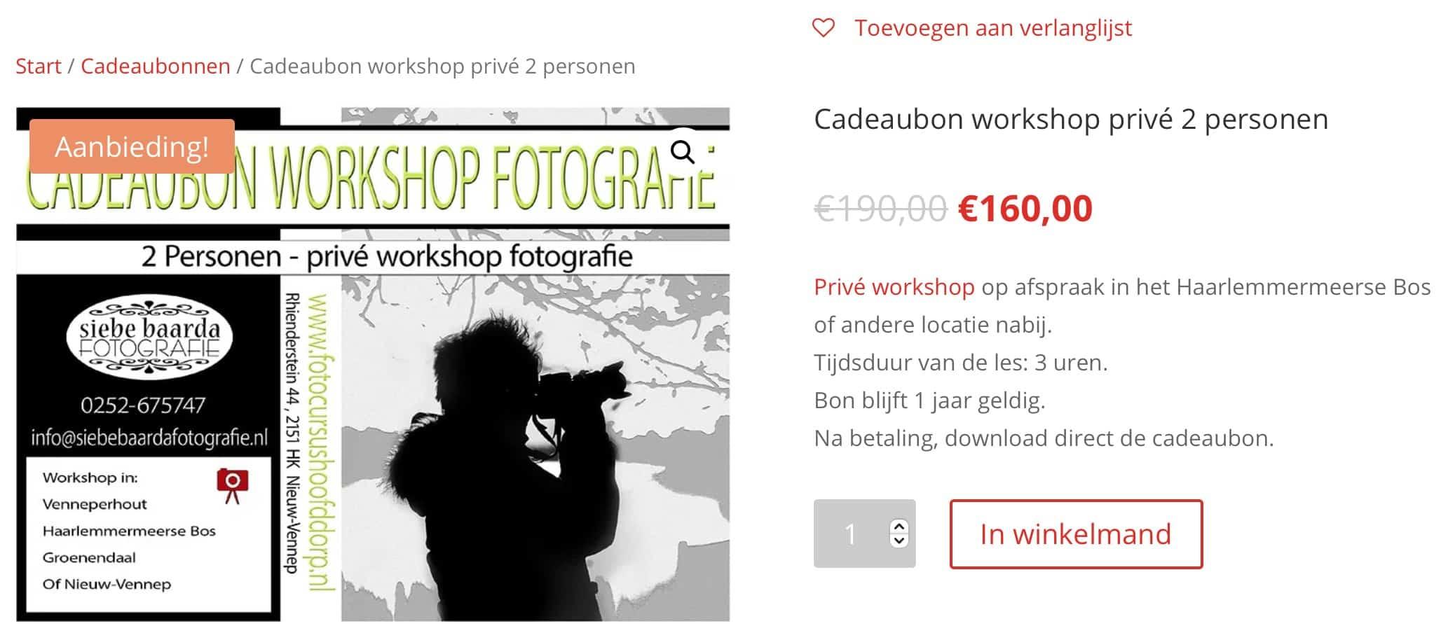 cadeaubon cursus fotografie Hoofddorp